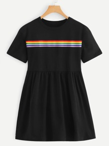 Colorful Striped Detail Dress