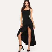 4ac3b2c9f20e9 SHEIN   Asymmetric Ruffle Hem Cami Dress   Goxip