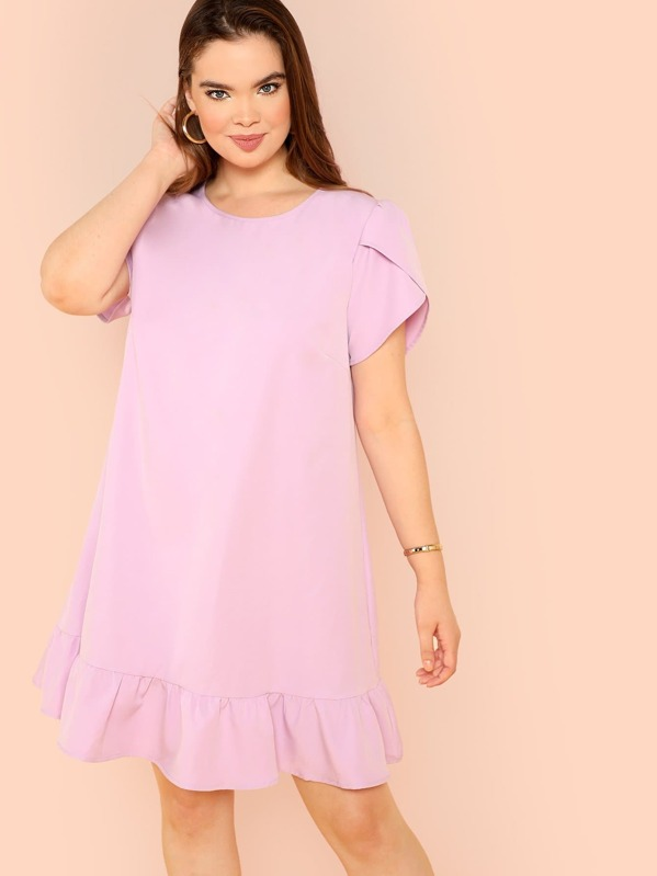 00c7a9cbf0b Plus Petal Sleeve Flounce Hem Swing Dress