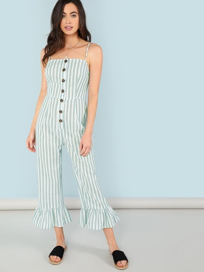 d84913b6e4 Button Front Ruffle Hem Striped Cami Jumpsuit