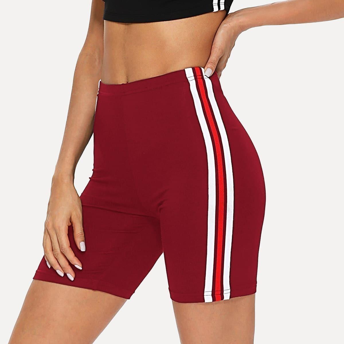 - Striped Tape Side Legging Shorts