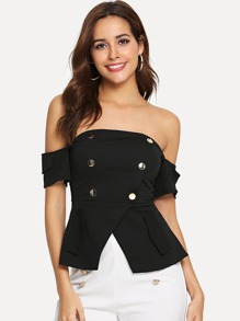 Double Button Slit Hem Off Shoulder Top