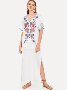 Embroidered Tassel Slit Hem Dress