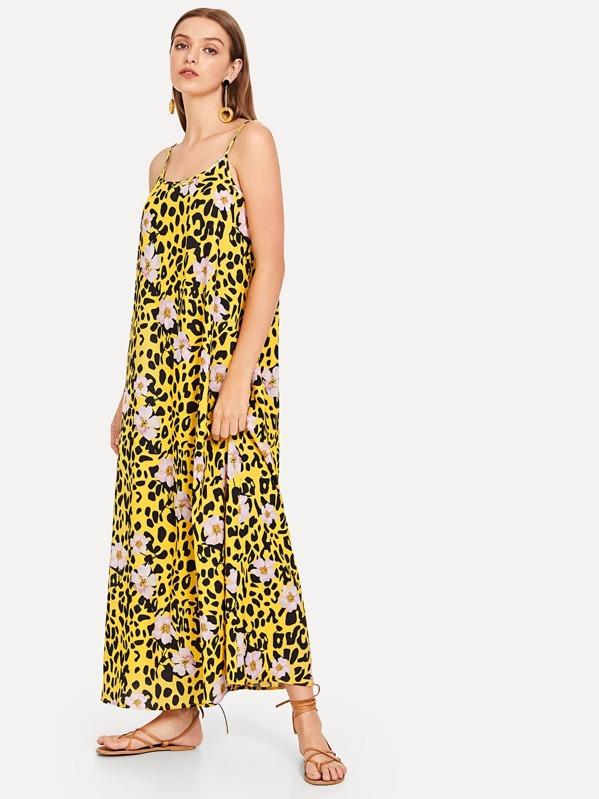 c4feba3f8 Vestido largo con estampado de leopardo y flores