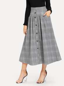 Wide Waist Button Up Plaid Skirt