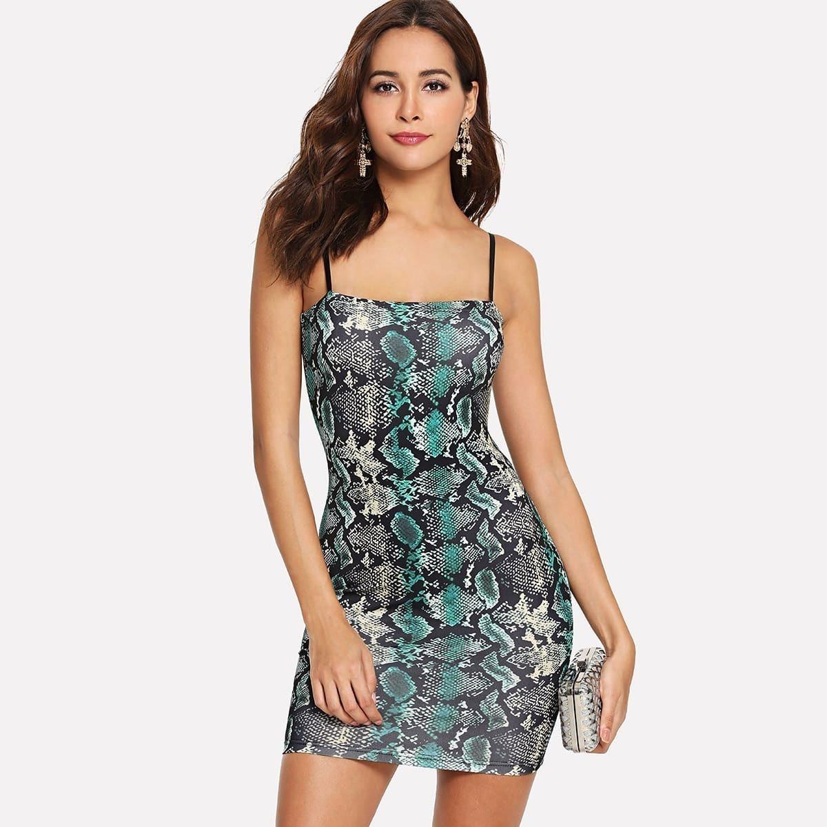 - Snake Skin Print Cami Dress