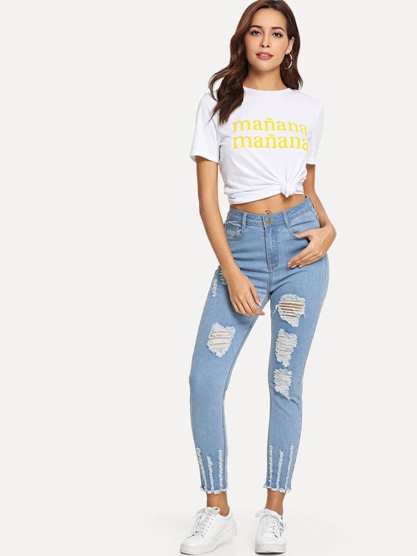 33b03bcbb551 Cheap Distressed Raw Hem Jeans for sale Australia | SHEIN