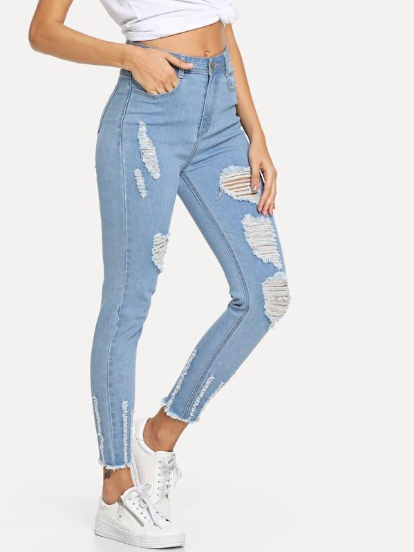 4ba4787a93f5 Distressed Raw Hem Jeans | SHEIN UK
