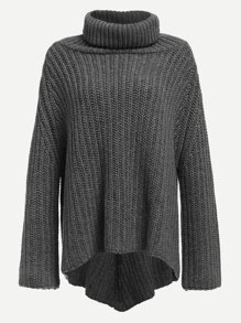 Turtle Neck Asymmetric Sweater