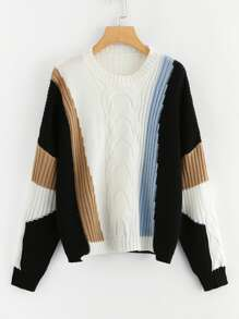 Color Block Mixed Knit Jumper