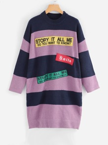 Lettering Patch Detail Striped Longline Sweater