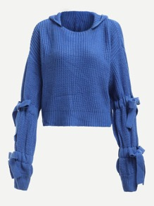 Knotted Sleeve Hooded Sweater
