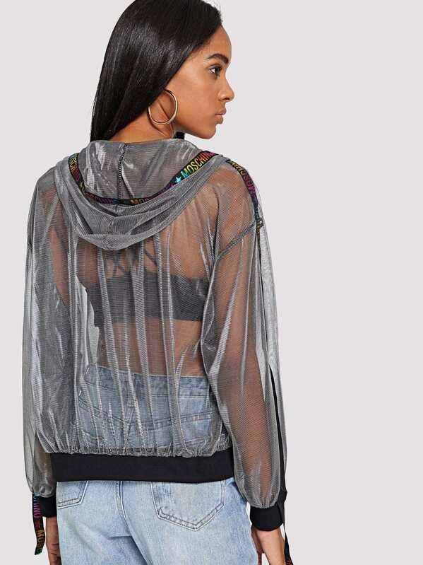 908338b96e Zip Front Side Letter Sheer Jacket | SHEIN UK