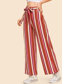 Waist Belted Striped Wide Leg Pants