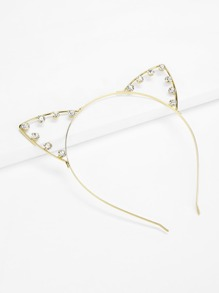 Rhinestone Decorated Cat Ear Headband