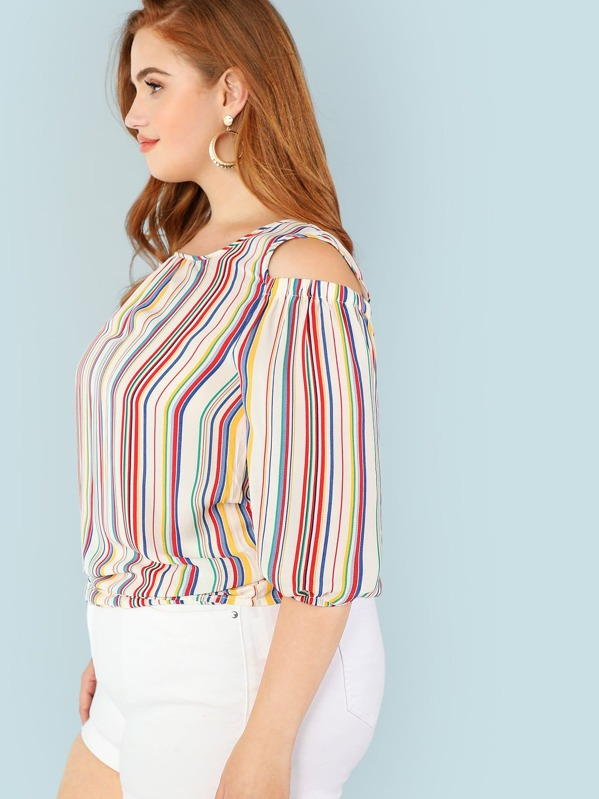 d20825995556da Plus Rainbow Stripe Cold Shoulder Blouse