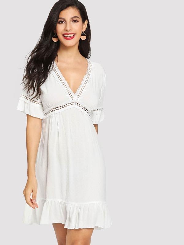 66c5351b45 Crochet Pompom Insert Ruffle Trim Dress   SHEIN