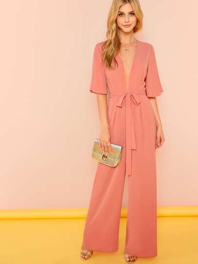 f0edcdfb5594 Plunge Neck Self Belted Palazzo Jumpsuit
