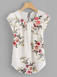 Plus Floral Print Cut Out Blouse