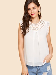 Frill Trim Cut Out Blouse