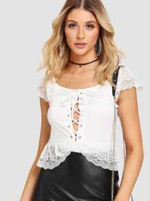 Lace Up Lace Panel Bodysuit