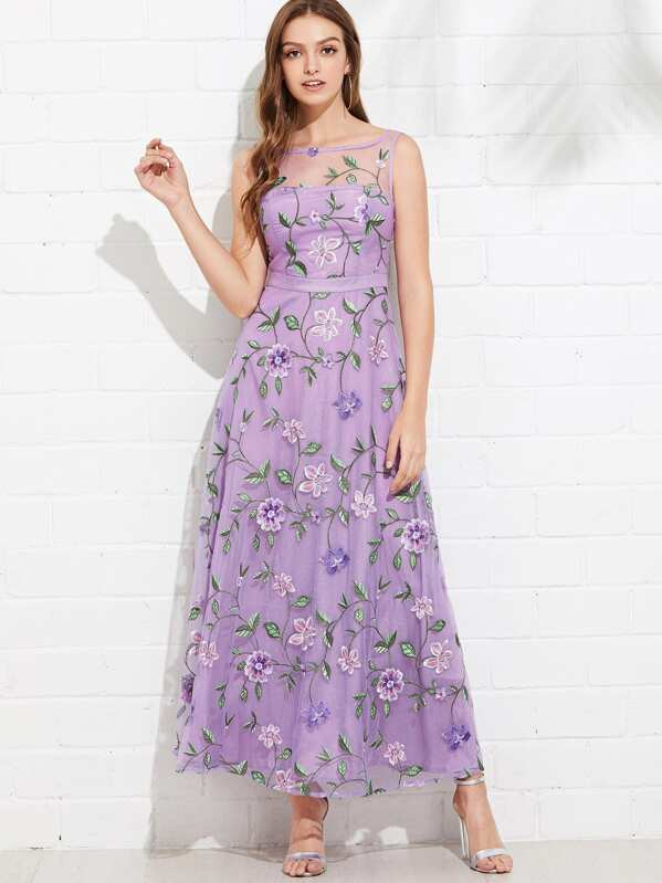 7c2c0a3e6 All Over Flower Embroidered Mesh Overlay Dress | SHEIN UK