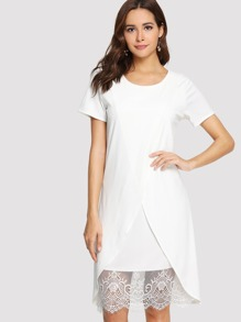 Contrast Lace Surplice Hem Dress