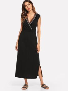 Lace Trim Split Hem Dress