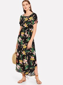 Tie Waist Botanical Print Curved Hem Dress