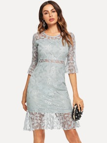 Lace Fluted Sleeve Dress
