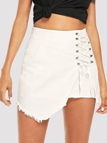 Lace Up Asymmetrical Skirt