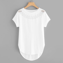 - Laser Cut High Low Curved Hem Tee