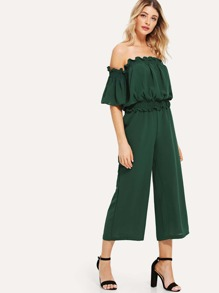 Frill Plain Top with Wide Leg Pants