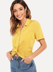 Twist Hem Solid Shirt