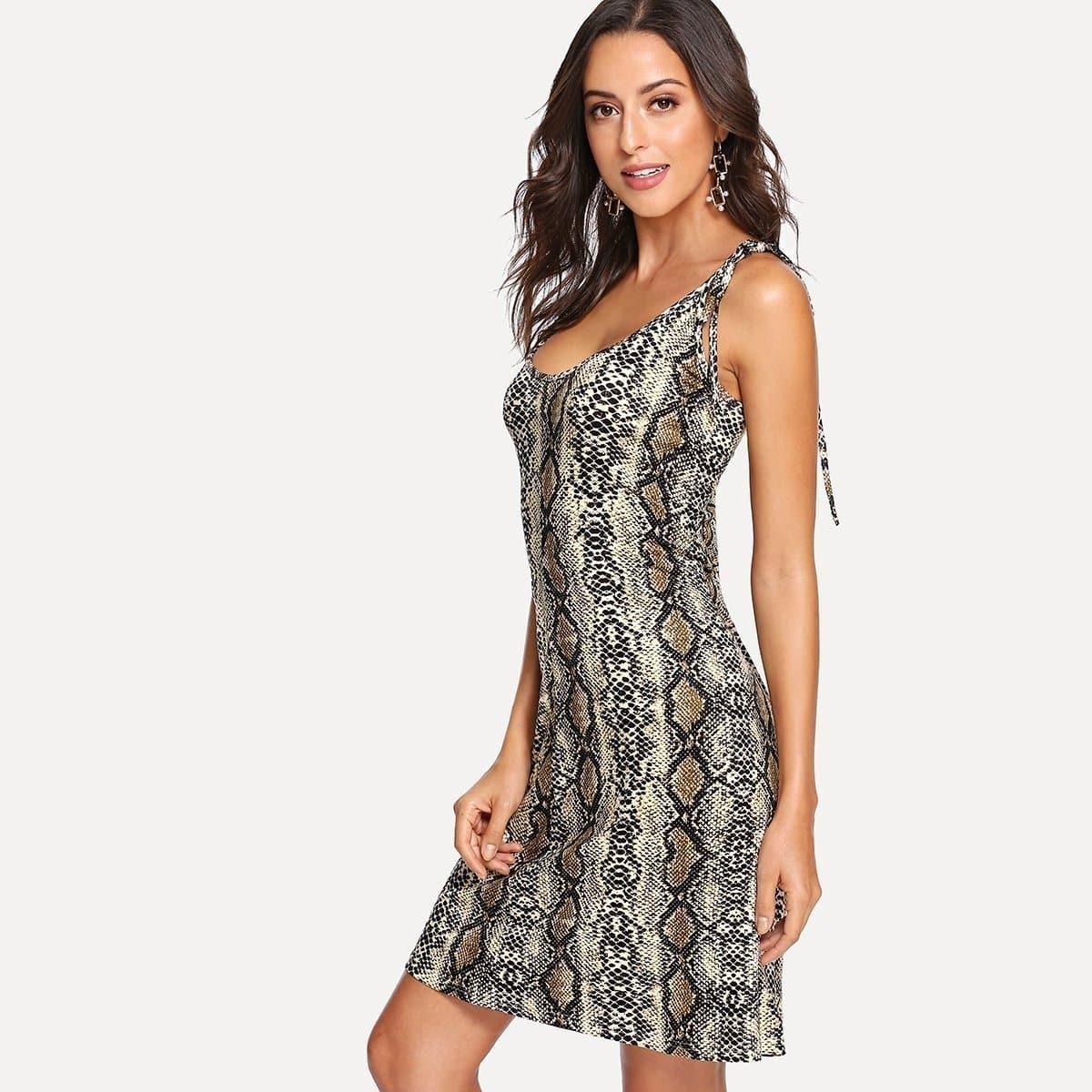 - Snake Print Shell Dress