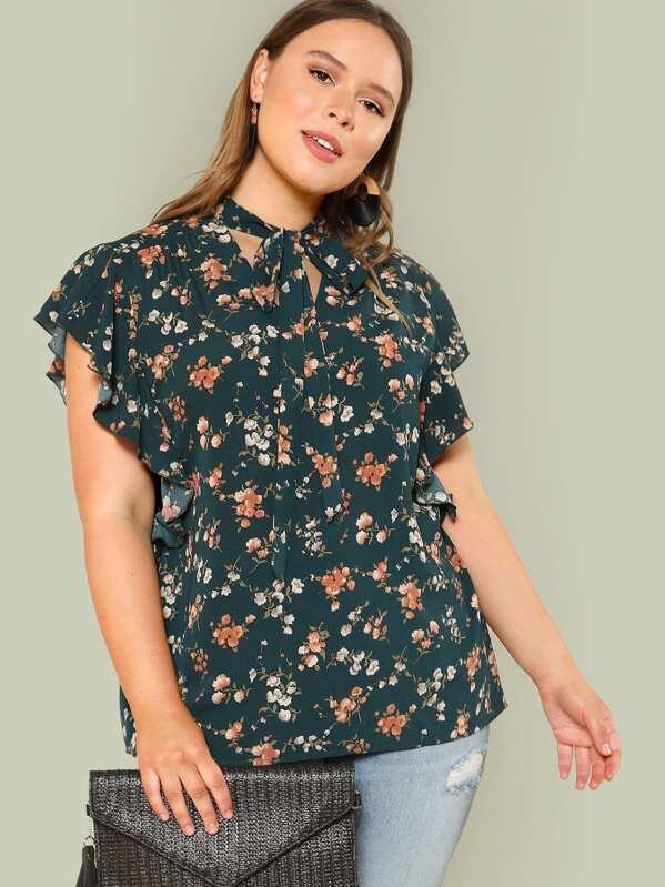 508581018 Blusa ribete fruncido de cuello con cordón con estampado botánico de talla  grande