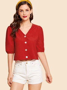 Elastic Cuff Button Up Blouse
