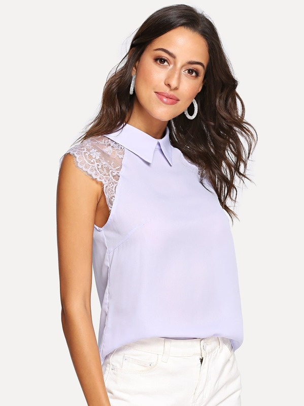 a699f64f468ae Floral Lace Cap Sleeve Blouse