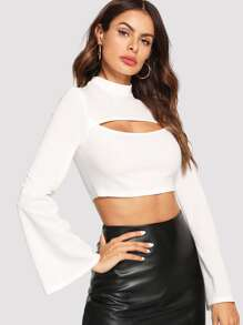 Bell Sleeve Peekaboo Crop Top