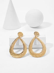 Textured Waterdrop Shaped Drop Earrings