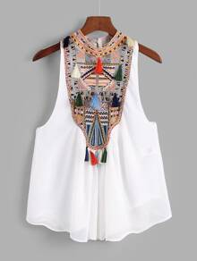 Geo Embroidered Tassel Trim Top