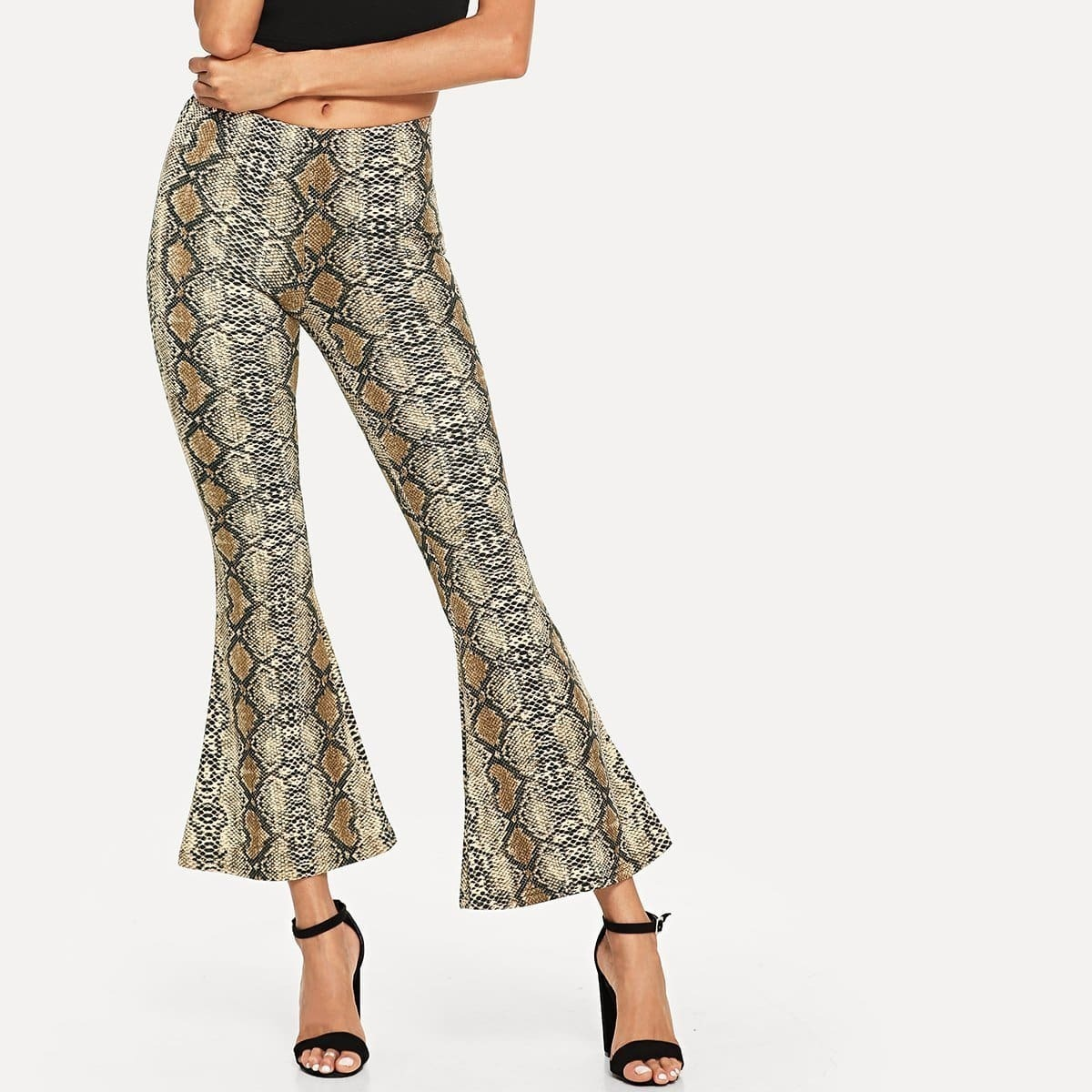 - Snake Skin Print Flare Leg Pants