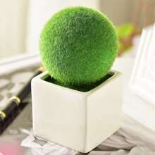 Fluffy Ball Shaped Artificial Potted Plant With Ceramic Pot