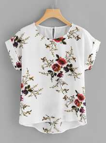 Plus Floral Print Cut Out Back Asymmetrical Hem Blouse