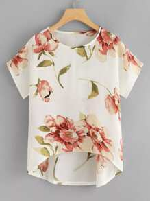 Plus Floral Print Asymmetrical Blouse