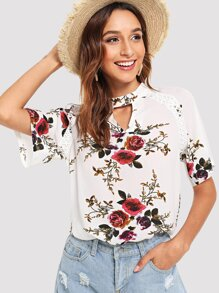 Cut Out Neck Floral Print Blouse