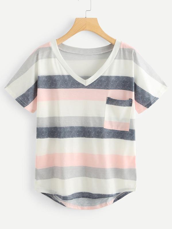 6e5db75f Plus Striped Pocket Asymmetrical Tee   SHEIN