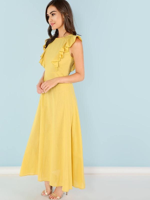 b6e8b96f5d8c01 Ruffle Armhole Fit and Flare Dress