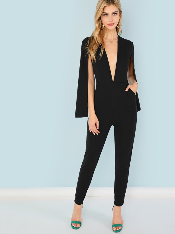 3bdb5583ab Plunging Neck Cloak Sleeve Jumpsuit | SHEIN