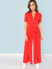 O-Zip Front Split Hem Jumpsuit
